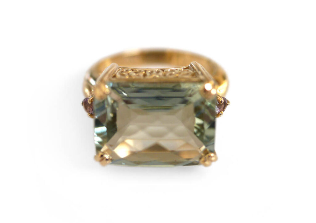 Baroque Rocks Phenomenal Prasiolite Party Ring at The Jewellery Cut Shop