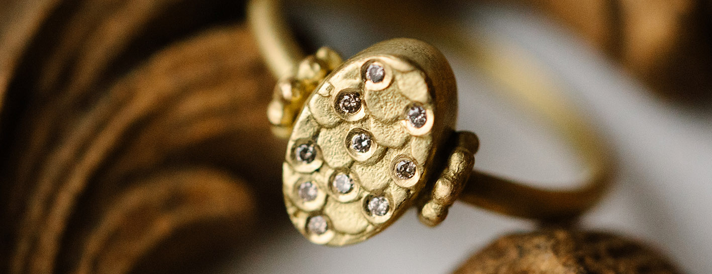 Alison Macleod Catkin Oval Ring with Diamond Scatter
