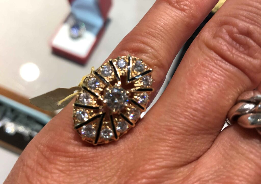 Kojis Diamond plaque ring on Liberty jewellery buyer Ruby Beales