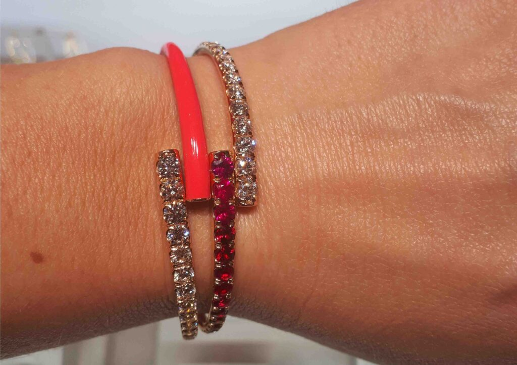 Melissa Kaye neon, ruby and diamond bracelets on Ruby Beales