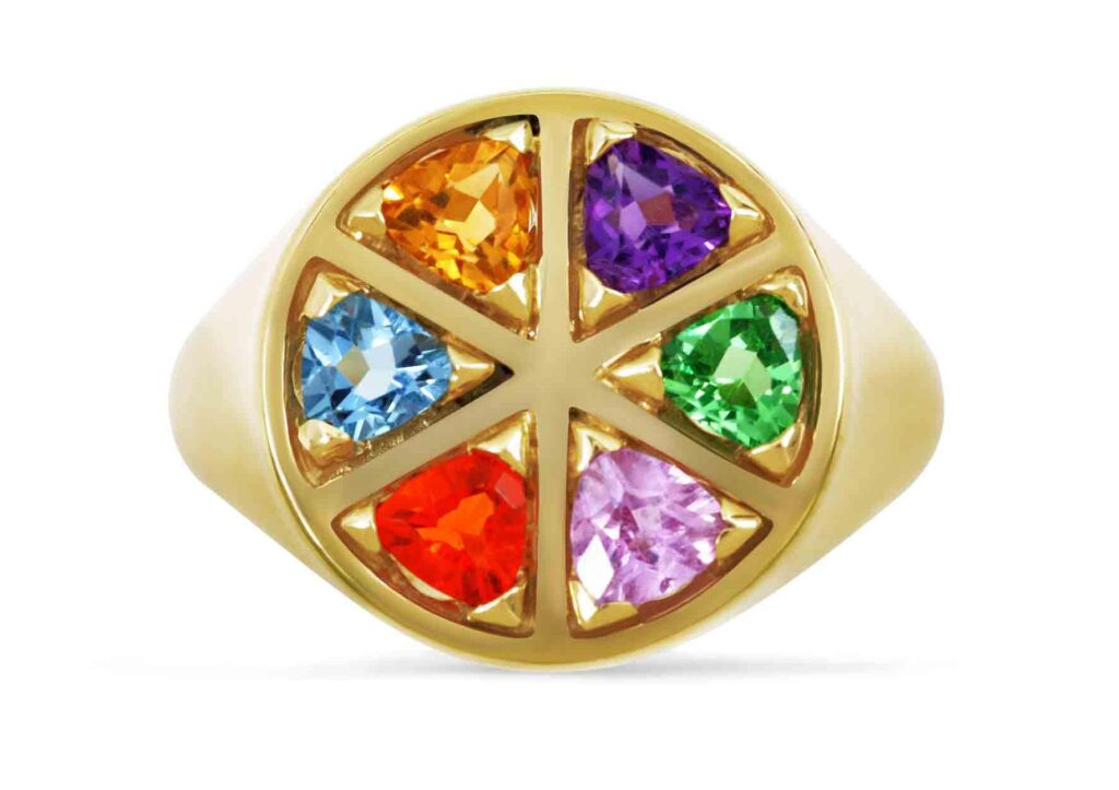 Origin 31 gold and rainbow gemstone The Wedge ring