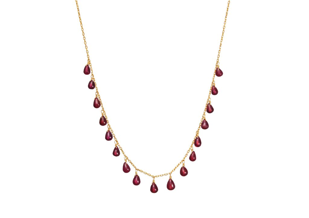 Dima 18ct gold and garnet Drop necklace, $1,000