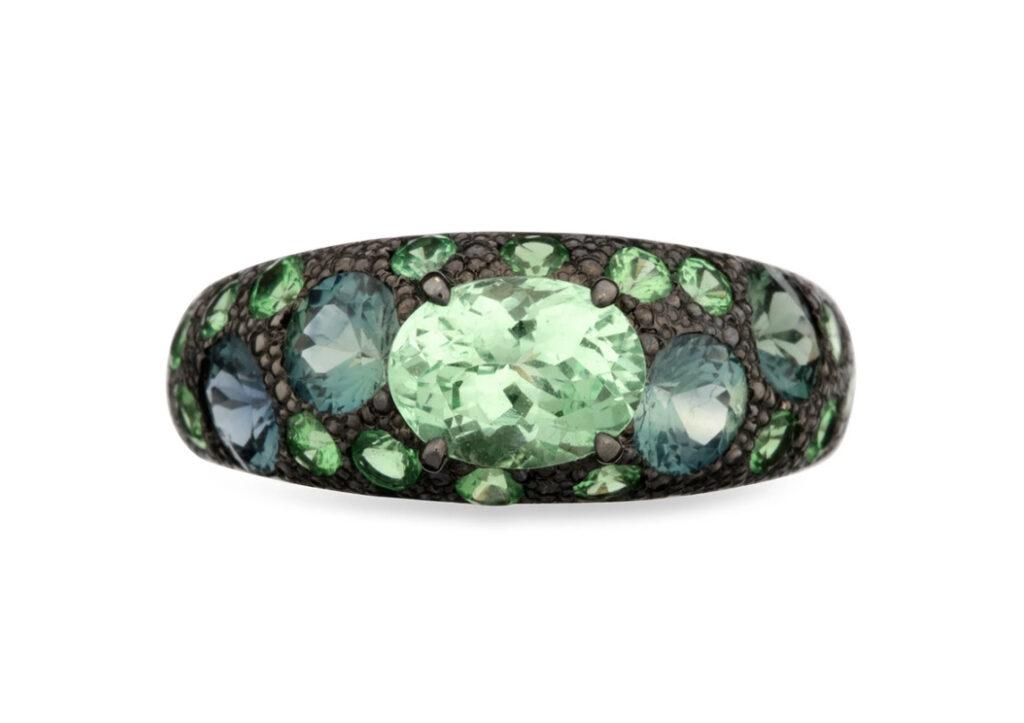 Eva Gems & Jewels 18ct black gold, tsavorite garnet and blue-green sapphire The Green Light ring, £3,462