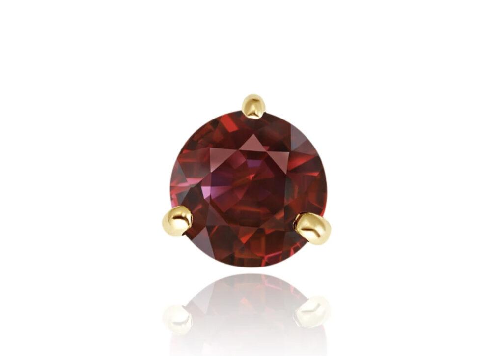 Misahara 14ct gold and garnet Mini stud earring, $100