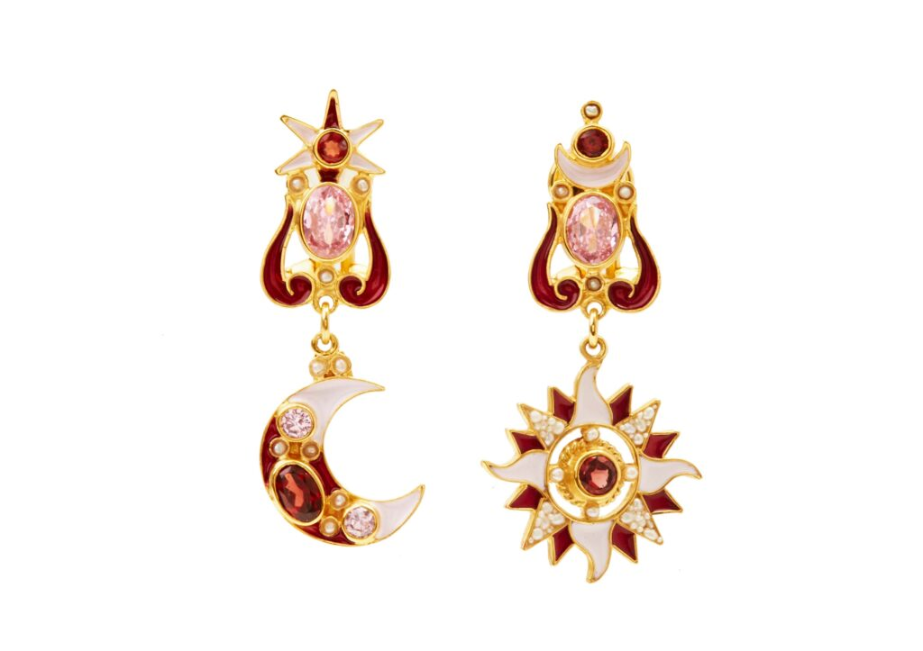 Percossi Papi gold-plated silver Sun & Moon earrings with garnets, seed pearls, rose zircon andcloisonné enamel, £520