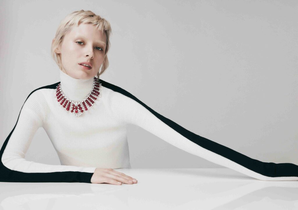 David Morris Rubia necklace crafted with 380ct Burmese rubies and 63ct square, oval, pear and round cut white diamonds, set in 18ct white gold.