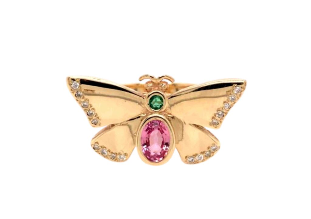 Jessica Steele gold, emerald, pink sapphire and diamond Butterfly ring Regular price