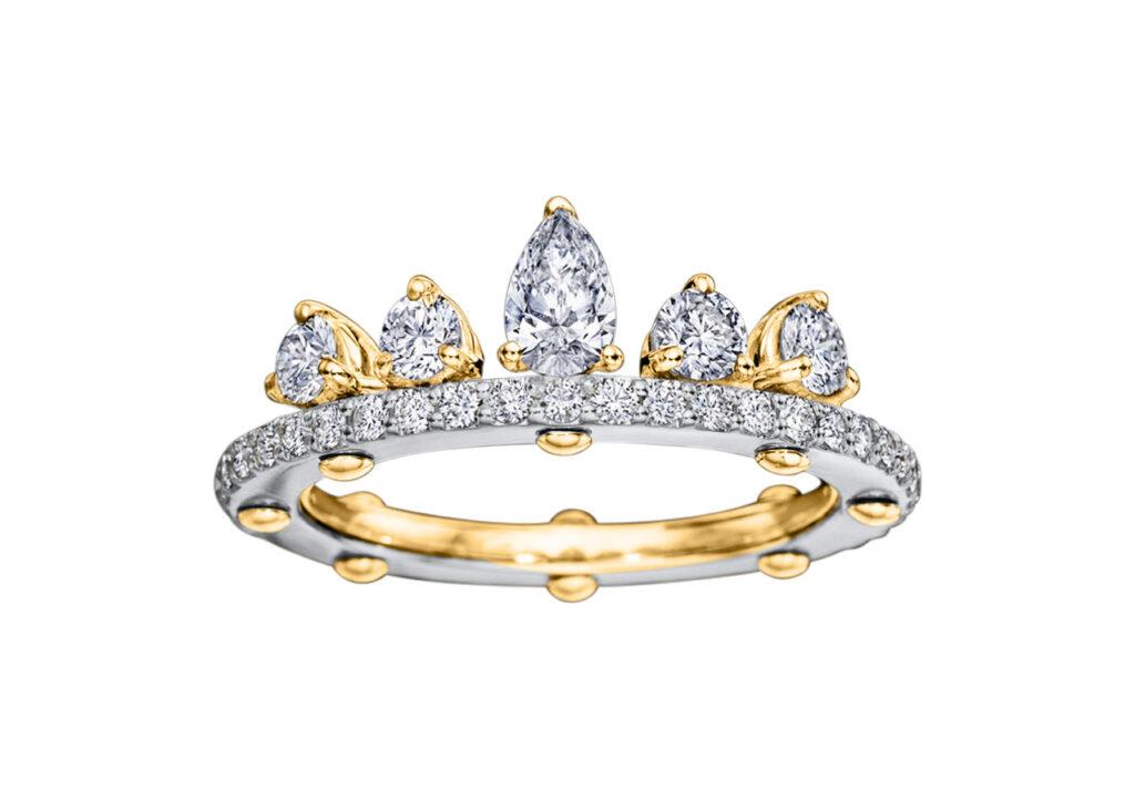 Royal Asscher gold and diamond DNA Tiara ring