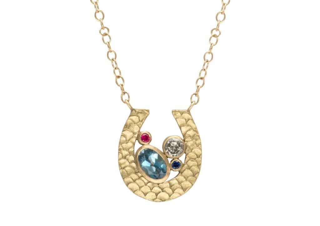 Alison Macleod gold, aquamarine, ruby, sapphire and diamond Catkin Happenstance Horseshoe necklace