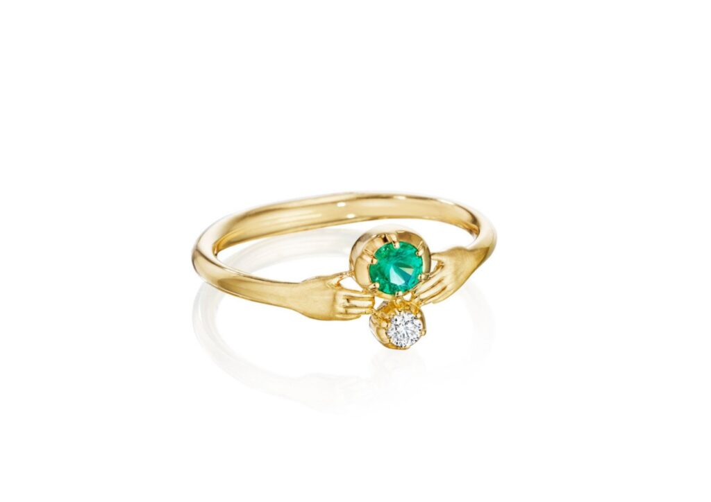 Anthony Lent emerald, gold, diamond ring with hands