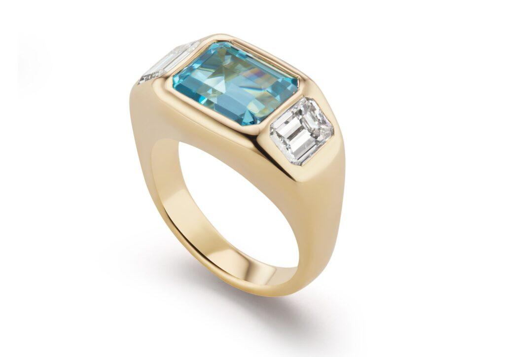 Brent Neale 18ct gold, aquamarine and diamond Gypsy ring