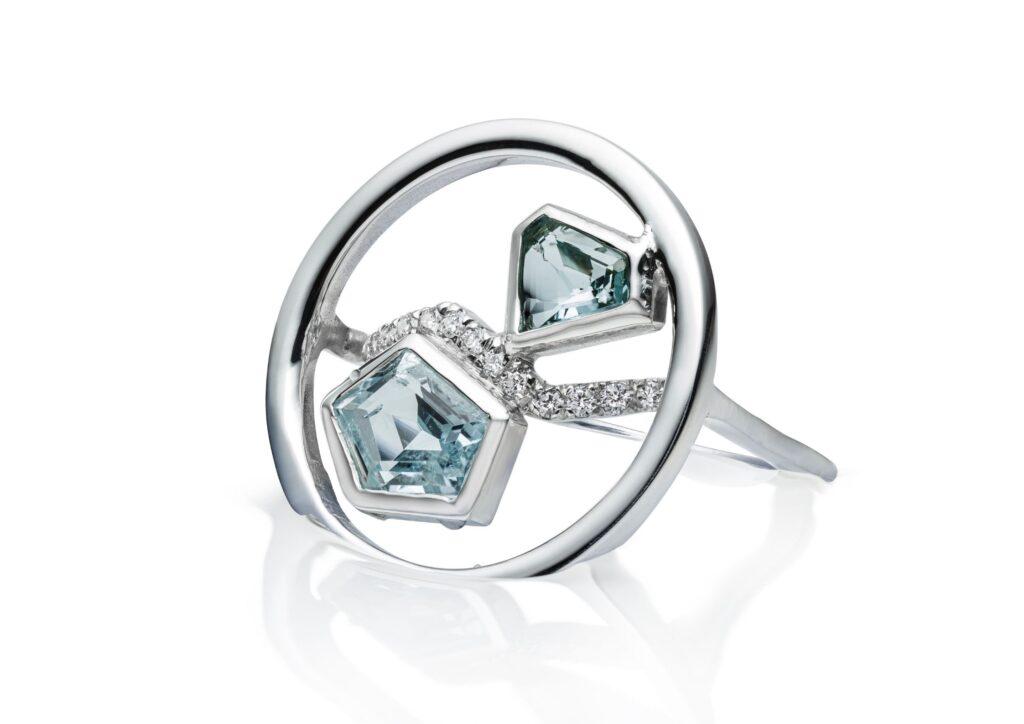 Charlotte Cornelius silver, diamond and aquamarine Diamond Lagoon Reflection ring