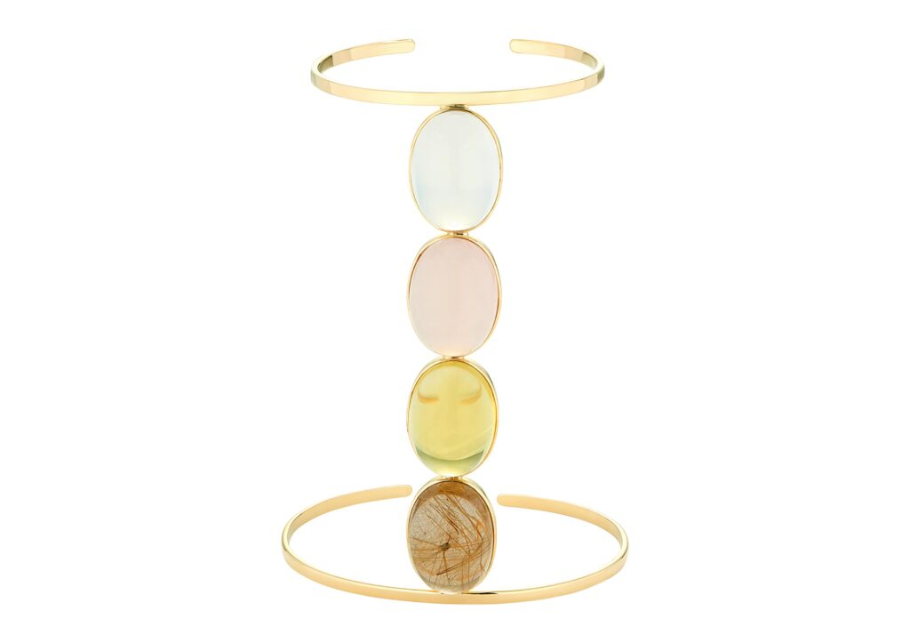 Dubini Empress cuff with Milky quartz, rose quartz, lemon quartz, rutilated quartz cabochons set in 18kt yellow gold
