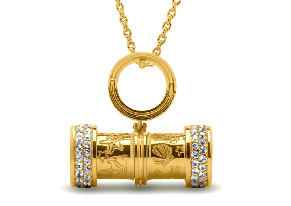 Drutis Jewellery gold, gemstone and aquamarine Sea Dreams Kaleidoscope pendant