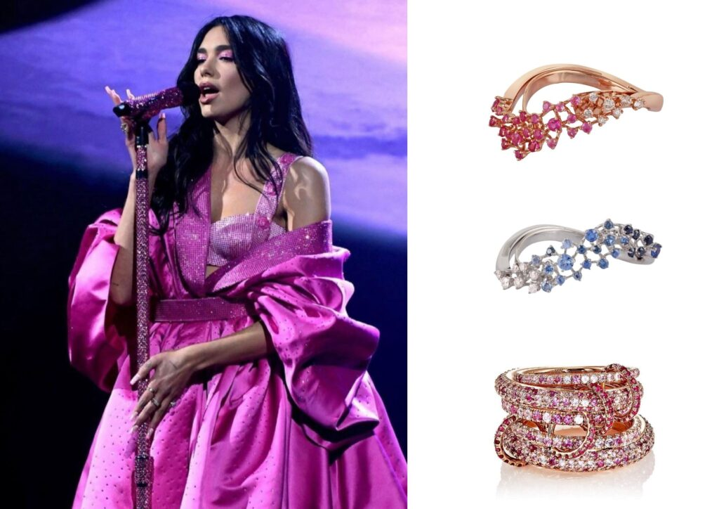Dua Lipa in Ananya and Spinelli Kilcolin jewellery at The Grammys 20201
