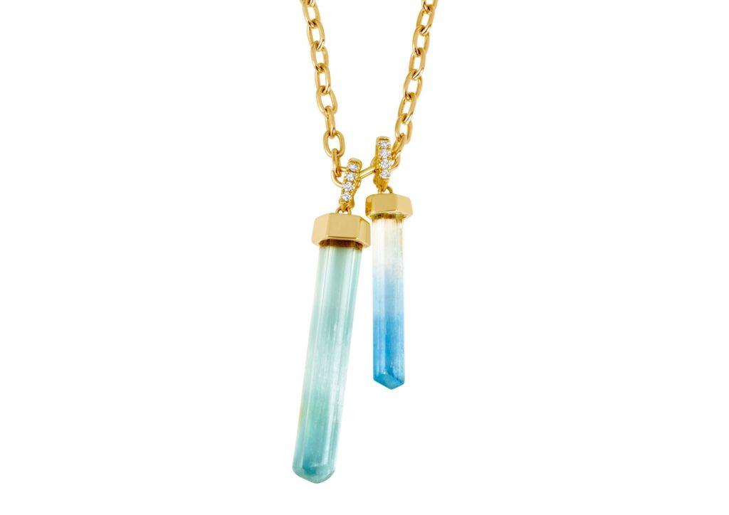 Emily P Wheeler gold, diamond and aquamarine necklace