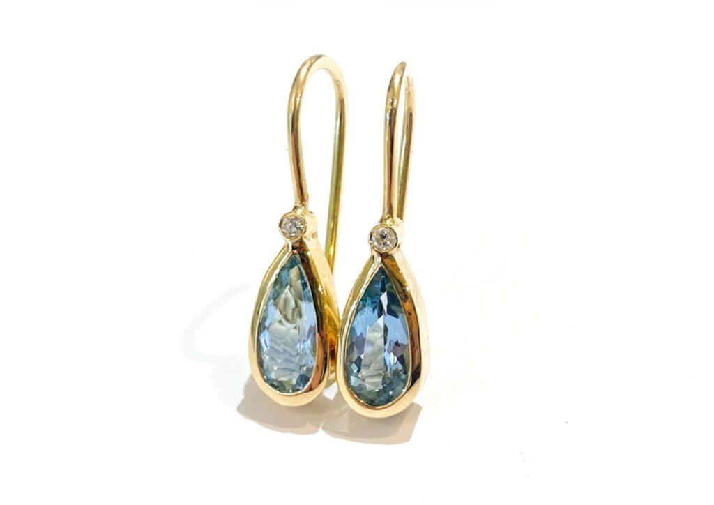 Libby Rak aquamarine, diamond and gold drop earrings