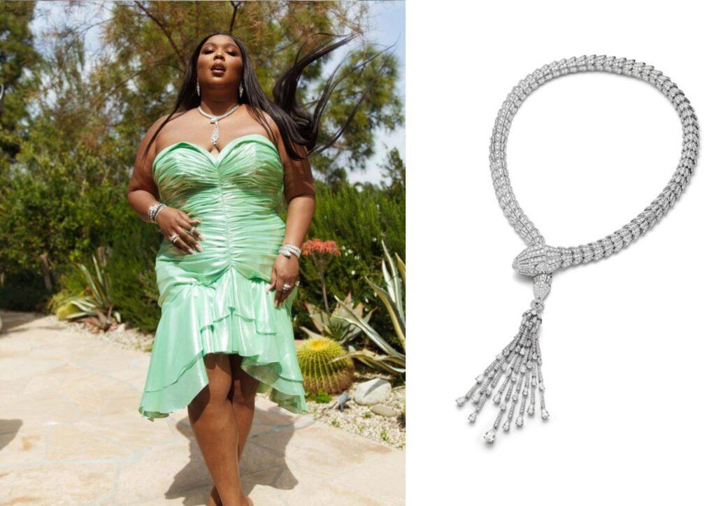 Lizzo in Bulgari jewellery at The Grammys 20201