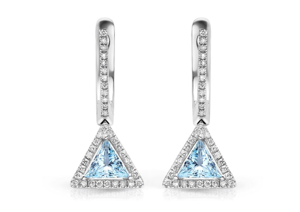 Maya 18ct white gold, aquamarine and diamond Triangle earrings