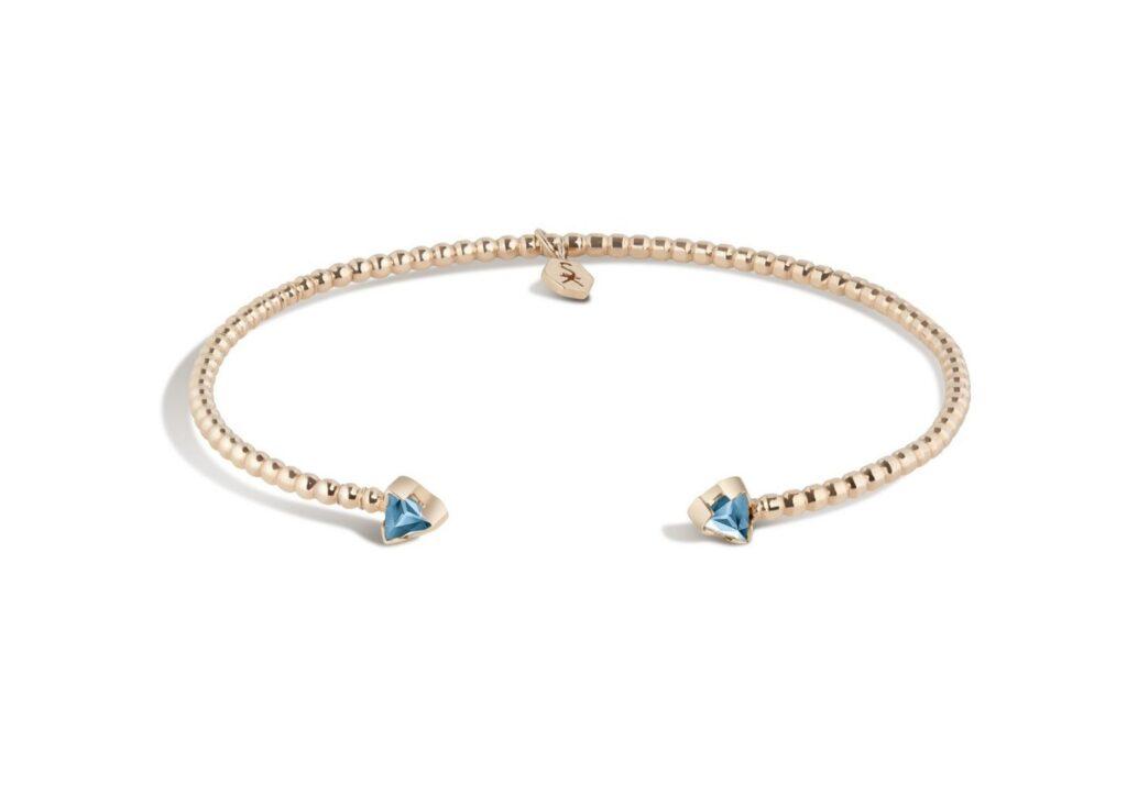 Shala Karimi 14ct gold and aquamarine Birthstone cuff
