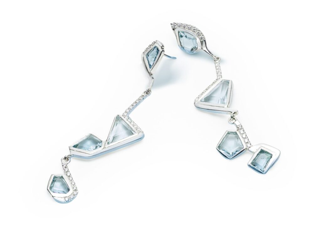 Charlotte Cornelius silver, diamond and aquamarine Diamond Lagoon statement earrings