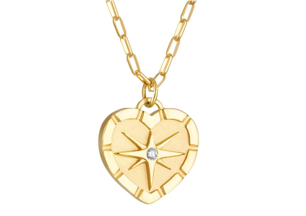 Pamela Zamore diamond and gold heart pendant