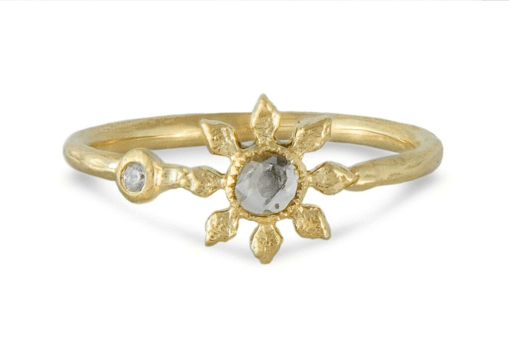 Natalie Perry ethical gold and grey diamond ring