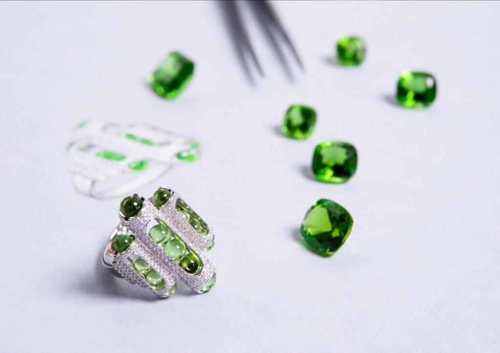 Fuli Gemstones x Zeemou Zeng peridot jewellery collection