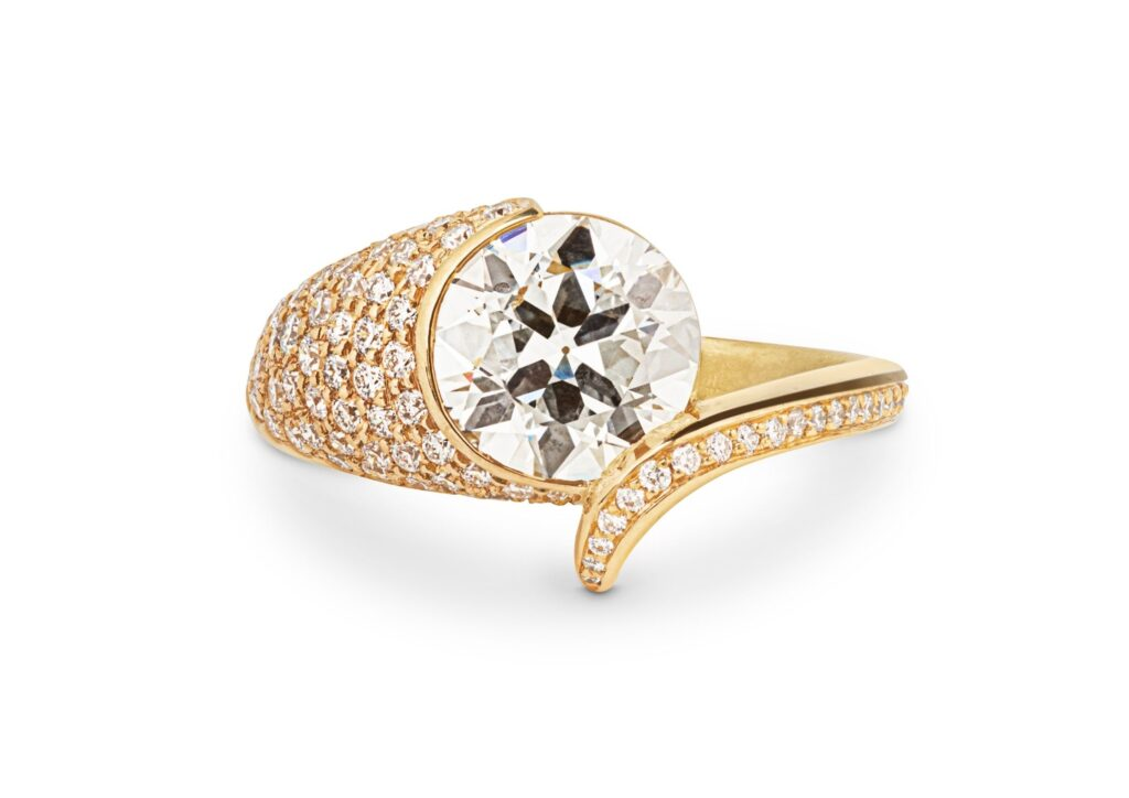 Jessie Thomas gold and diamond engagement ring